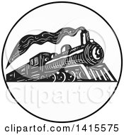 Clipart Of A Retro Black And White Steam Engine Train In A Circle Royalty Free Vector Illustration