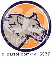 Clipart Of A Cartoon Angry Gray Wolf Head Inside A Blue White And Orange Circle Royalty Free Vector Illustration