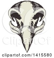 Clipart Of A Retro Styled Eagle Skull Royalty Free Vector Illustration