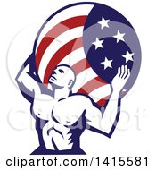 Clipart Of A Retro Muscular Man Atlas Carrying An American Flag Globe On His Back Royalty Free Vector Illustration