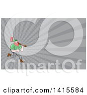 Cartoon Red Haired Lumberjack Paul Bunyan Running Carrying An Axe And Giving A Thumb Up And Gray Rays Background Or Business Card Design