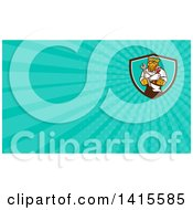 Clipart Of A Leopard Plumber Or Mechanic Holding Spanner And Monkey Wrenches In Folded Arms In A Shield And Turquoise Rays Background Or Business Card Design Royalty Free Illustration by patrimonio