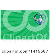Poster, Art Print Of Retro Cartoon White Handy Man Or Mechanic Holding A Giant Spanner Wrench And Green Rays Background Or Business Card Design