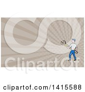 Poster, Art Print Of Retro Cartoon White Handy Man Or Mechanic Holding A Giant Spanner Wrench And Rays Background Or Business Card Design