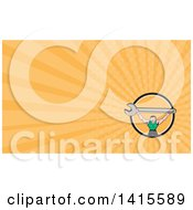 Clipart Of A Retro Cartoon White Male Mechanic Squatting And Holding Up A Giant Spanner Wrench And Orange Rays Background Or Business Card Design Royalty Free Illustration