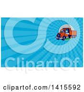 Clipart Of A Retro Male Dump Truck Driver Giving A Thumb Up And Blue Rays Background Or Business Card Design Royalty Free Illustration