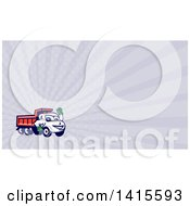 Clipart Of A Cartoon Red Dump Truck Mascot Waving And Pastel Purple Rays Background Or Business Card Design Royalty Free Illustration