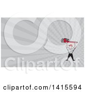 Retro Cartoon White Male Plumber Holding Up A Giant Monkey Wrench And Gray Rays Background Or Business Card Design