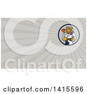 Leopard Plumber Holding A Plunger And Monkey Wrench In Folded Arms And Rays Background Or Business Card Design