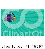 Clipart Of A Retro Purple Fire Breathing Dragon Flying With A Basketball And Emerging From A Circle And Turquoise Rays Background Or Business Card Design Royalty Free Illustration by patrimonio