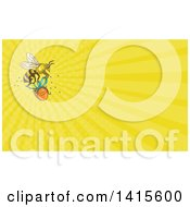 Clipart Of A Sketched Worker Bee Flying With A Round Gift Box And Yellow Rays Background Or Business Card Design Royalty Free Illustration