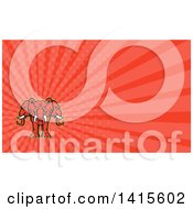 Clipart Of A Retro Red Three Headed Elephant And Red Rays Background Or Business Card Design Royalty Free Illustration by patrimonio