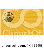 Clipart Of A Cartoon Male Service Ranger And Yellow Rays Background Or Business Card Design Royalty Free Illustration by patrimonio