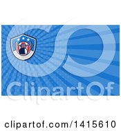 Clipart Of A Retro Woodcut Kettlebell Hanging On A Barbell In An American Shield And Blue Rays Background Or Business Card Design Royalty Free Illustration