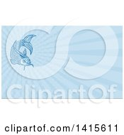 Clipart Of A Sketched Blue Koi Fish And Blue Rays Background Or Business Card Design Royalty Free Illustration