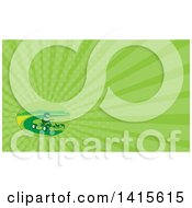 Clipart Of A Retro Man Racing A Go Kart And Green Rays Background Or Business Card Design Royalty Free Illustration