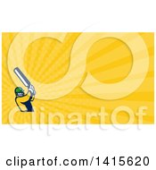 Clipart Of A Retro Cricket Player Batsman Swinging And Yellow Rays Background Or Business Card Design Royalty Free Illustration