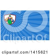 Clipart Of A Retro Male Carpet Layer Giving A Thumb Up And Carrying A Roll In A Shield And Blue Rays Background Or Business Card Design Royalty Free Illustration by patrimonio