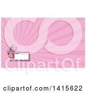 Retro Cartoon Butcher Pig Leaning On A Blank Sign And Pink Rays Background Or Business Card Design