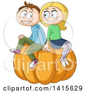 Clipart Of A Cartoon Happy Caucasian Couple Sitting On A Giant Pumpkin Royalty Free Vector Illustration by yayayoyo