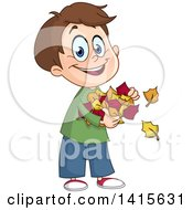 Clipart Of A Cartoon Caucasian Boy Holding Autumn Leaves Royalty Free Vector Illustration
