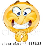 Clipart Of A Happy Emoji Emoticon Smiley Face Pleading Royalty Free Vector Illustration