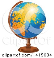 Clipart Of A Blue And Orange Desk Globe Royalty Free Vector Illustration