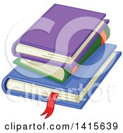 Clipart Of A Pile Of Three Books Royalty Free Vector Illustration by Pushkin