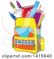 Clipart Of A Backpack Full Of School Supplies Royalty Free Vector Illustration