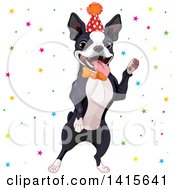 Clipart Of A Cute Boston Terrier Wearing A Party Hat And Dancing In Confetti Royalty Free Vector Illustration