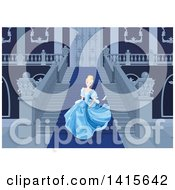 Clipart Of A Scene Of Cinderella Fleeing From The Ball Royalty Free Vector Illustration