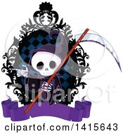Clipart Of A Cute Grim Reaper Skeleton Holding A Scythe And Pointing In A Frame Royalty Free Vector Illustration
