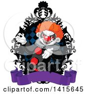 Clipart Of A Creepy Clown Presenting Inside A Black Rame Over A Blank Purple Banner Royalty Free Vector Illustration