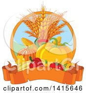 Clipart Of A Still Life Of Autumn Harvest Vegetables And Leaves With A Banner Royalty Free Vector Illustration