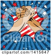 Clipart Of A Grungy Labor Day Themed Background With Arm Wrestling Hands Stars And Rays Royalty Free Vector Illustration