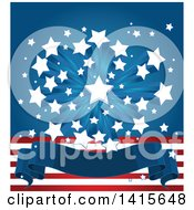 Clipart Of A Patriotic American Themed Background With A Burst Of Stars Over Stripes And A Blank Banner Royalty Free Vector Illustration