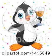 Clipart Of A Cute Blue Eyed Penguin Celebrating And Cheering With A Glass Of Champagne Royalty Free Vector Illustration