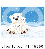 Cute Fathers Day Polar Bear Dad With Cubs In An Arctic Landscape