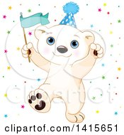 Clipart Of A Cute Baby Polar Bear Cub Wearing A Party Hat Holding A Flag And Celebrating Royalty Free Vector Illustration