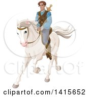 Clipart Of A Prince Riding A White Horse Royalty Free Vector Illustration