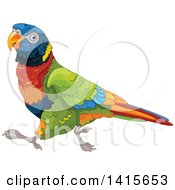 Clipart Of A Wonder Rainbow Lory Bird Running Royalty Free Vector Illustration by Pushkin