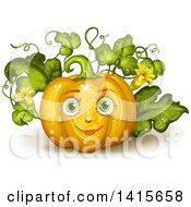 Clipart Of A Pumpkin Character On The Vine Royalty Free Vector Illustration