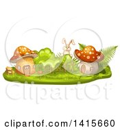 Clipart Of A Rabbit And Mushroom Houses Royalty Free Vector Illustration by merlinul