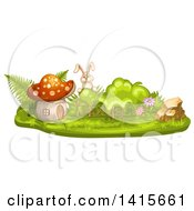 Clipart Of A Rabbit And Mushroom House Royalty Free Vector Illustration by merlinul