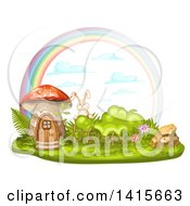 Clipart Of A Mushroom House Rabbit And Rainbow Royalty Free Vector Illustration by merlinul
