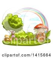 Clipart Of A Mushroom House And Rainbow Royalty Free Vector Illustration