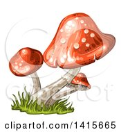 Clipart Of A Group Of Mushrooms Royalty Free Vector Illustration by merlinul