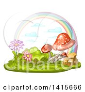 Clipart Of A Group Of Mushrooms Flowers And Rainbow Royalty Free Vector Illustration by merlinul