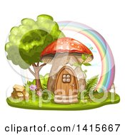 Mushroom House And Rainbow
