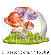 Clipart Of A Group Of Mushrooms And Rainbow Royalty Free Vector Illustration by merlinul